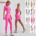 WOHUADI Fashion Women Clotching Yoga Set Fitness Sportswear Seamless High Waist Leggings Shirt Sport Crop Top Bra Tracksuits Gym
