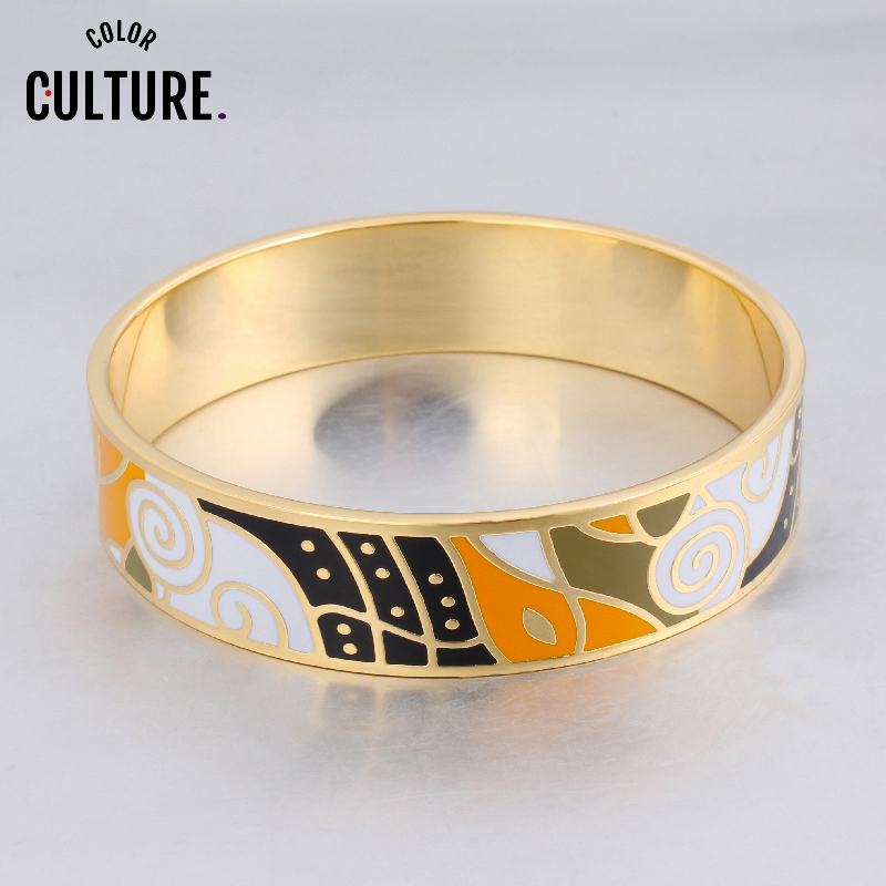 Braccialetti di grandi dimensioni con disegni geometrici in dropshipping Braccialetti smaltati vintage in acciaio inossidabile color oro per gioielli etnici da donna