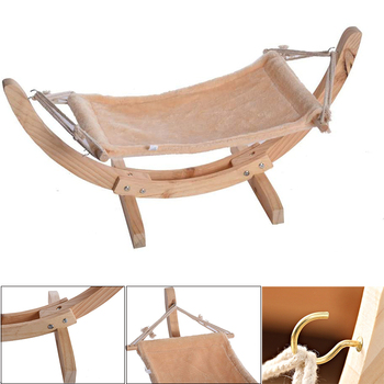 цена WH 2020 Hot Attractive Wood Construction Large Soft Plush Anti Sway Cats Pet Dog Bed Easy assemble Pets Luxury Cat toy Hammock онлайн в 2017 году