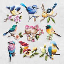 Bird on the breach Embroidery Iron Sew Patches for Clothing Applique DIY Hat Coat Dress Pants Accessories Cloth Sticker