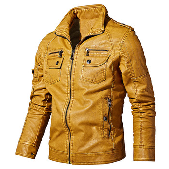 PYJTRL Mens Autumn Winter Fleece Lining Leather Jacket Fashion PU Washed Leather Motorcycle Jaket Men Bomber Camperas Thick Coat 10