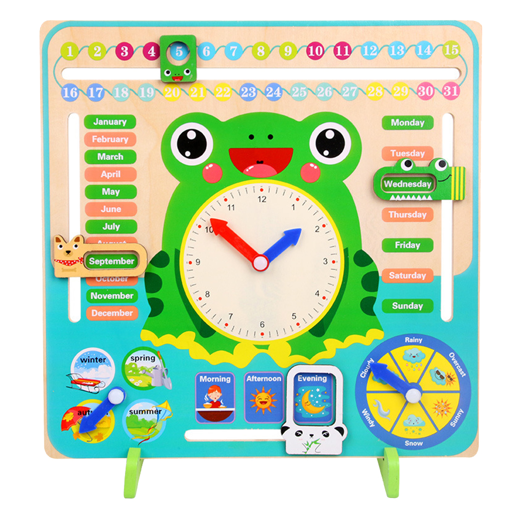 Educational Time Learning Clock for Students Children Boys Girls Gift - Multi Functional Date Season Weather Kids Cognitive Toy