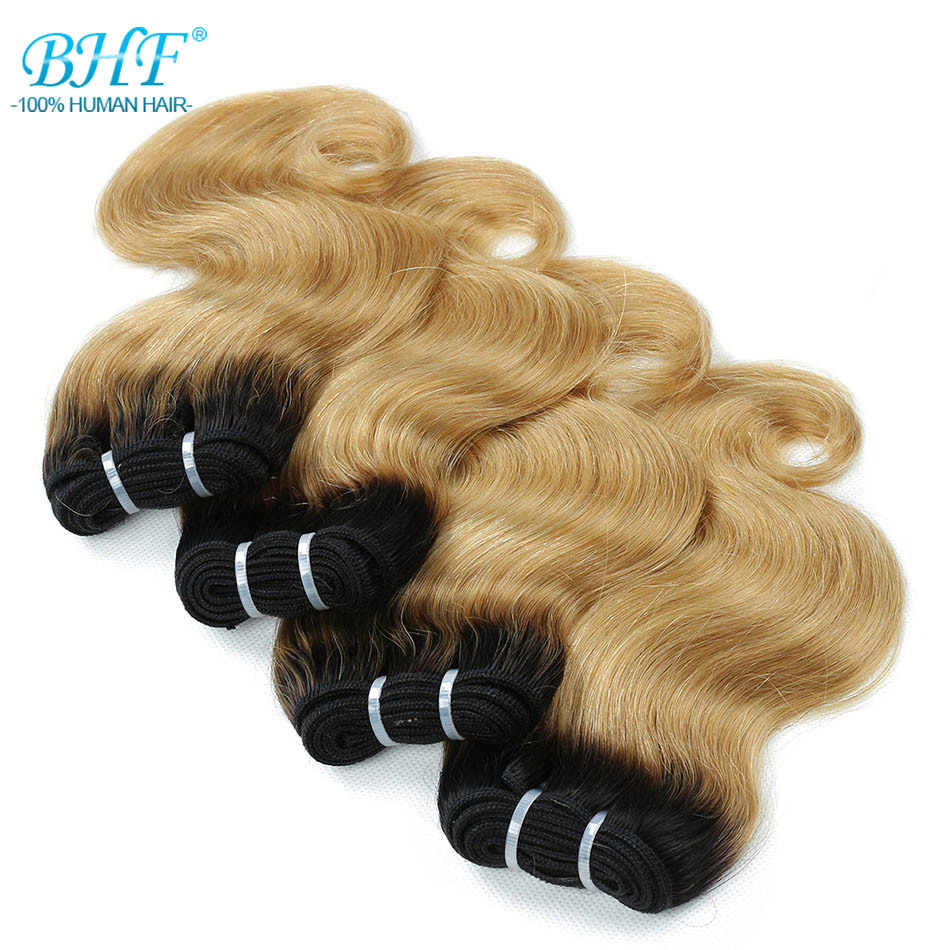 BHF Ombre 1B/27 Body Wave Human Hair Bundles 50g/pc 8 Inch 100% Remy Natural Hair Extensions 1B/613 Pink Burgunday Color