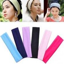 Bandeau de Yoga élastique absorbant la transpiration, 1 pièce, couleur bonbon, accessoires de cheveux simples pour femmes et filles, bandes de sport de couleur unie