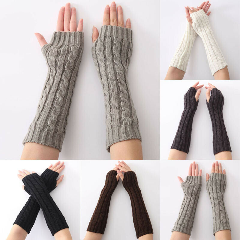 Women Winter Warm Wrist Arm Hand Warmer Knit Long Fingerless Elbow Gloves Mitten