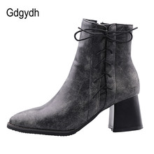 Gdgydh Plus Size Chelsea Boots Women Ankle Boots With Zipper Pointed Toe Gray Brown Spring Shoes Female Footwear Street Working(China)