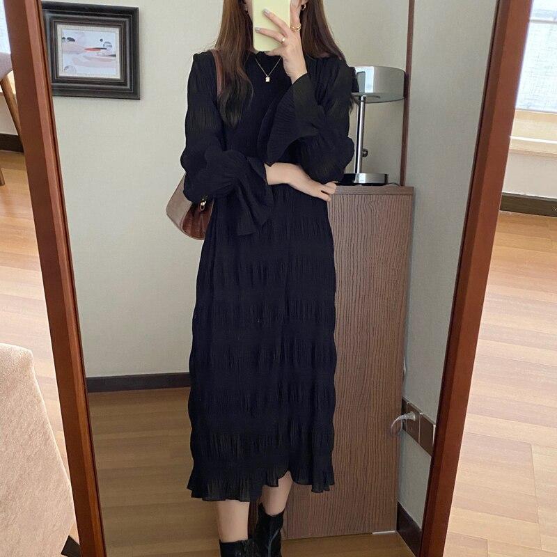 Hda93a132db2b4b49b82c7e369a059bcfs - Autumn Korean O-Neck Flare Long Sleeves Chiffon Pleated Midi Dress