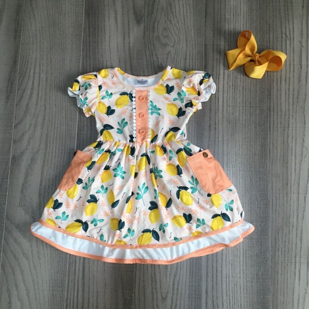 Baby Girls Summer Dress Children Girl Lemon Dress With Bow