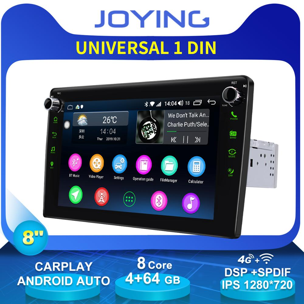 JOYING Single 1 Din 8 Universal Head Unit Android Car Radio Stereo Auto GPS Navigation Multimedia Player Steering Wheel DVR OBD image