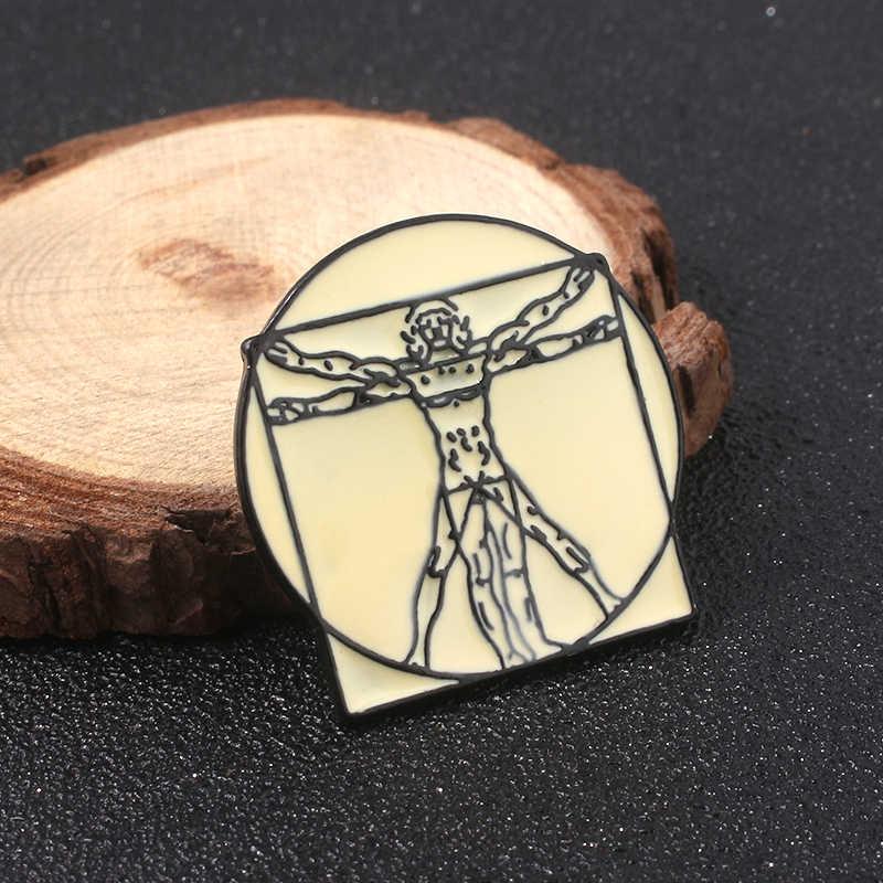 Leonardo Da Vinci Uomo Vitruvian Lencana Bros Madonna Litta Gantungan Kunci Enamel Pin Pria Tas Mantel Perhiasan Hadiah Natal