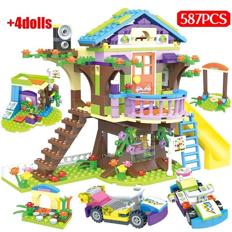 587PCS Ctiy Mädchen Baum Haus Bausteine Legoing Freunde Geheimnis Hütte Abbildung Gehen Kart Ziegel Geschenk Pädagogisches Spielzeug für mädchen