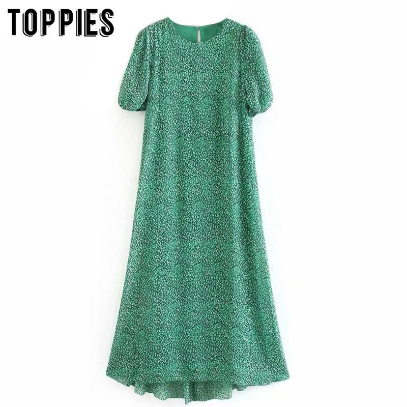 Green Leopard Maxi Dress 2020 Summer Short Sleeve T-shirt Dress Women Round Neck Bohomian Clothes
