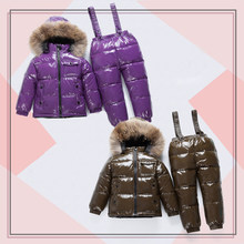 Children's Down Jacket Girl Winter Hooded Outdoor Sports Snowboard Suit Keep Warm Baby Boy Clothes Coat Set Ski Wear Windproof(China)