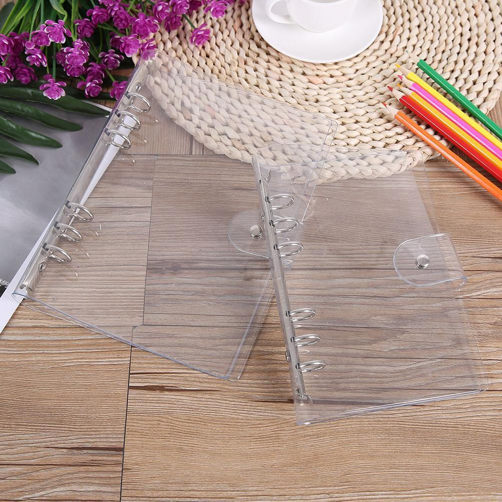 1Pc Transparent Color Plastic Clip File FolderA4/A5/A6/A7 Ring Leaf Binder Office Supplies Notebook Ag School Planner Loose P4N9