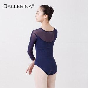 Image 2 - Balet taniec praktyka trykot dla kobiet balet adulto kostium czarna siatka z długim rękawem gimnastyka trykot baleriny 5876