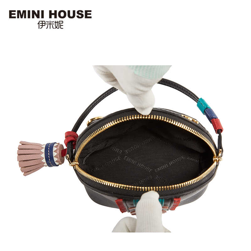 EMINI HOUSE הודי סגנון מיני מעטפת תיק פיצול עור ציצית כתף תיק Crossbody שקיות לנשים אופנה ליידי ארנק