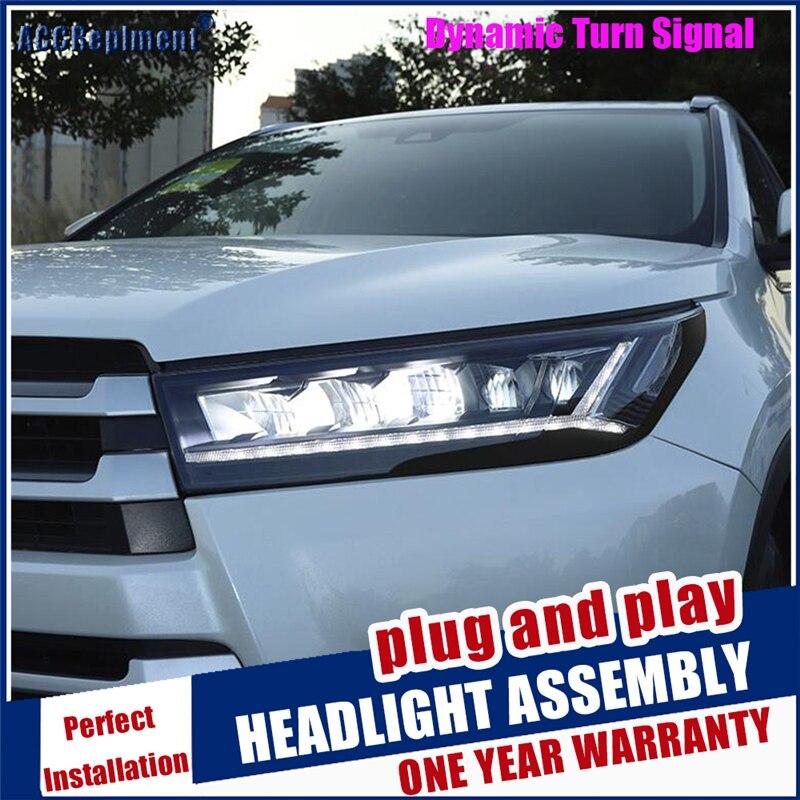 Nouveau style de voiture pour Highlander phares 2017 2018 2019 clignotant dynamique tous les LED lampe frontale LED DRL Auto accessoires