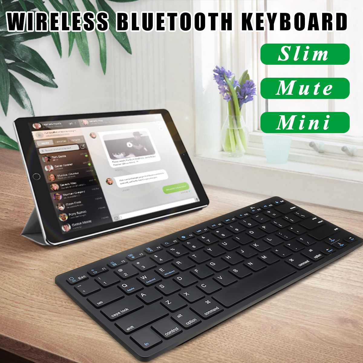 LEORY Ultra-slim Wireless Keyboard bluetooth 3.0 For iPad for iPhone Series for MacBook for Samsung Phone PC Computer Tablet