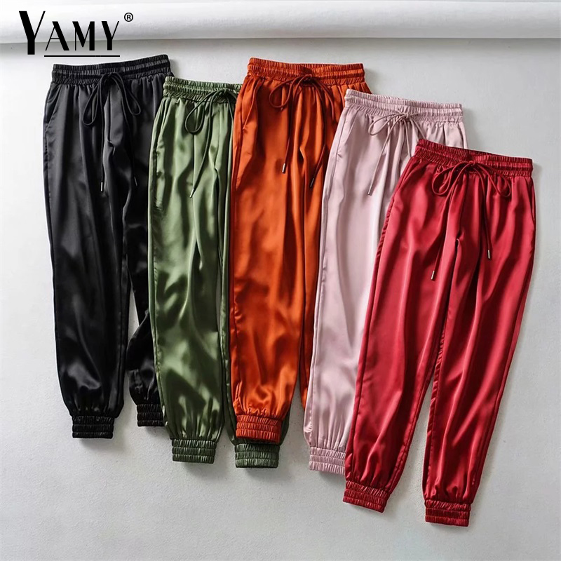 2019 Winter Black Joggers Women Trousers High Waist Pants Pink Sweat Pants Green Satin Pants Women Sweatpants