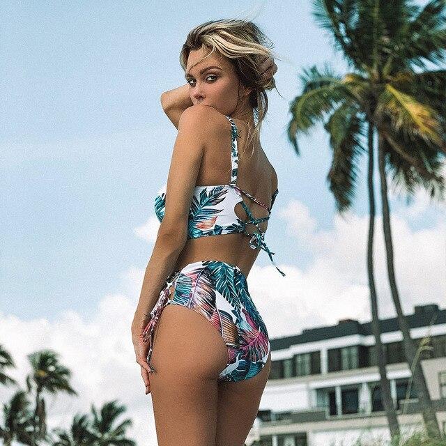 Mujer High Patterned Print Waist Bikini Set 2