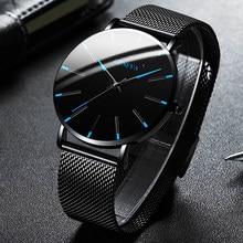 Montre de luxe pour hommes, élégante, Ultra fine, en acier inoxydable, maille à Quartz, 2021