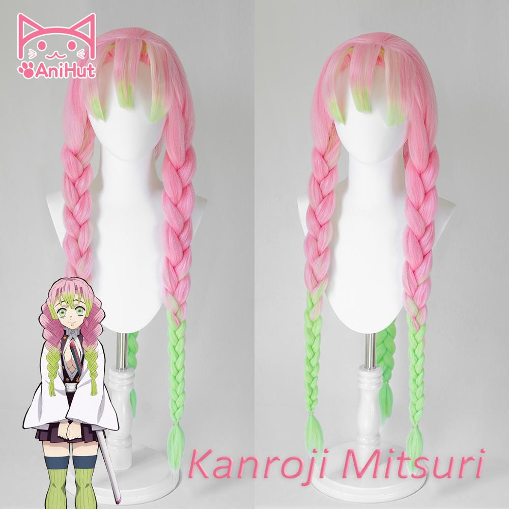 AniHut Kanroji Mitsuri Wig Kimetsu No Yaiba Demon Slayer Cosplay 80cm Pink Synthetic Heat Resistant Hair Kanroji Mitsuri Cosplay