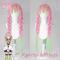 AniHut Kanroji Mitsuri Wig Kimetsu no Yaiba Cosplay 80cm Pink Light Green Synthetic Heat Resistant Hair Kanroji Mitsuri Cosplay