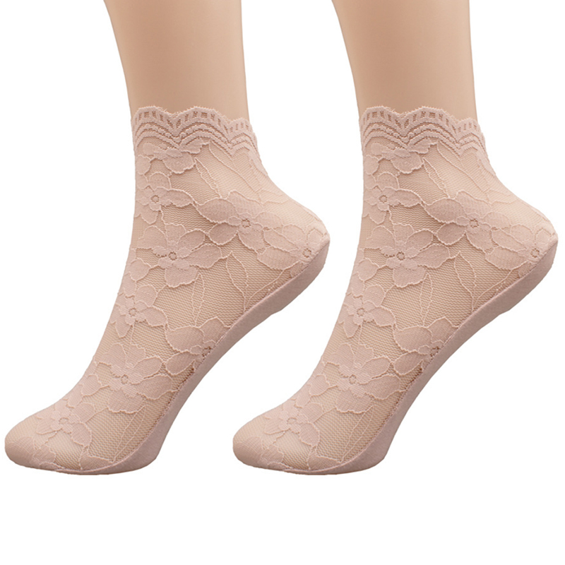 Women'S Thin Lace Socks Summer Cotton Bottom Slip Resistant Easy Breathable Invisible Socks Transparent Hollow Out Boat Socks