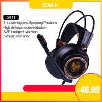 Somic G941 Gamer Auricolari USB 7.1 Virtual Surround Sound Gaming Headset Cuffie con Microfono Stereo Bass Vibrazione per il PC