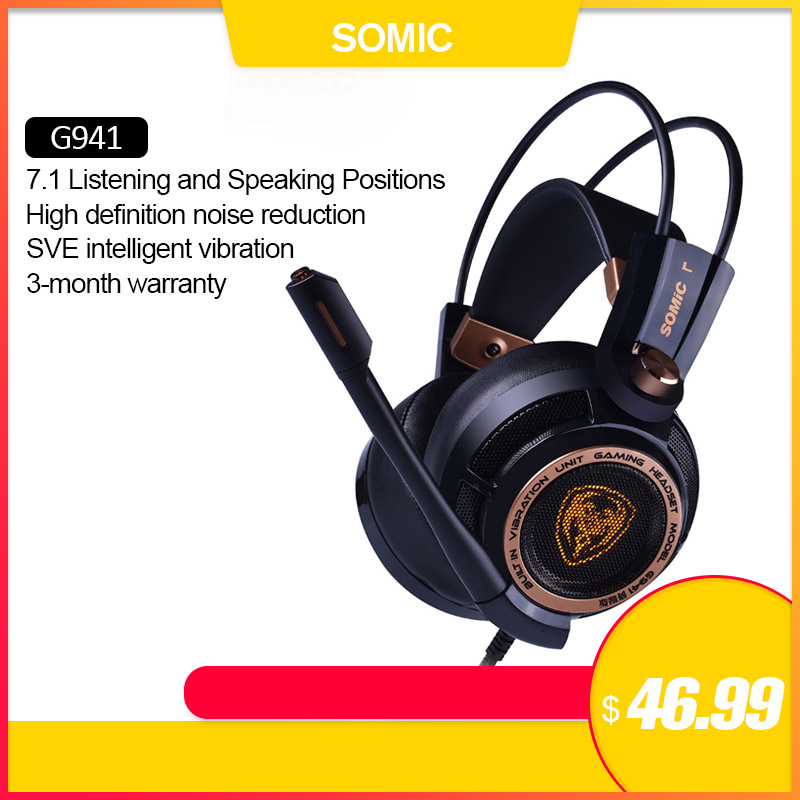 Somic G941 Gamer Earphones USB 7.1 Virtual Surround Sound Gaming Headset Headphones With Microphone Stereo Bass Vibration For PC