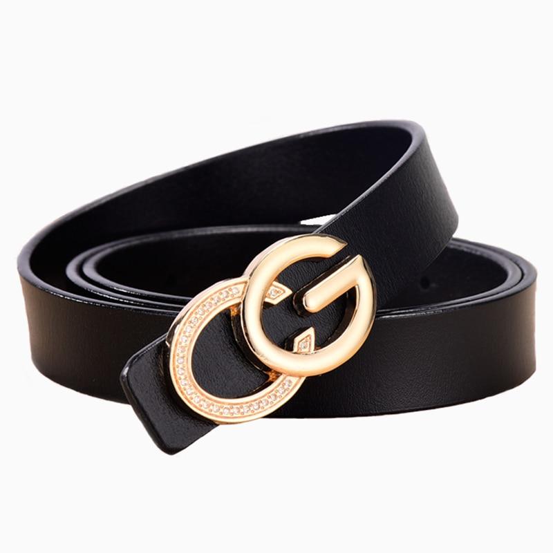 2020new Fashion Rhinestone Leather Belt Ladies Smooth Buckle Leather Belt Wild Women's Rhinestone Leather Belt