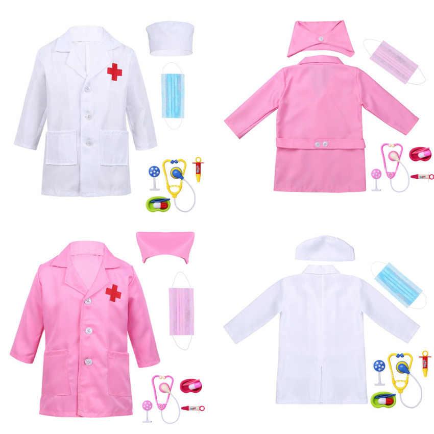 2020 Regalo di Compleanno per Bambini Uniforme Medica Ospedale per Bambini Ragazzo Medico Ragazze Infermiere Giacca Abito di Cosplay Costumi di Carnevale di Halloween