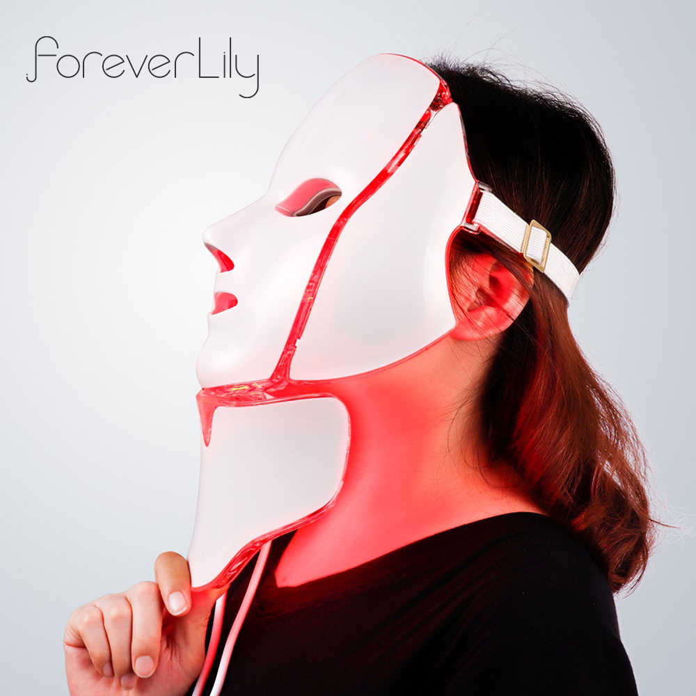 Foreverlily 7 สีแสง LED หน้ากากคอผิว Rejuvenation Face Care Treatment Beauty Anti Acne Therapy Whitening