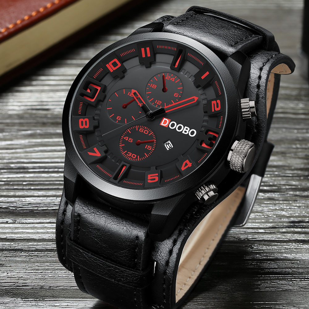 DOOBO Sports Wristwatch Clock Leather Strap Top-Brand Casual Fashion Luxury Quartz Men title=