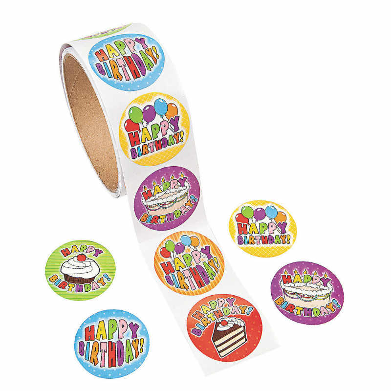One Roll Creative Adhesive Tape 100pcs HAPPY BIRTHDAY Sticker For Kids Gift Colorful Stationery Sticker Party Toy