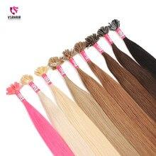 Cabelo humano tirado dobro da fusão da espessura para a extensão do cabelo da queratina do salão de beleza cabelo liso 45cm 50cm 60cm 50g100g 100% do cabelo humano