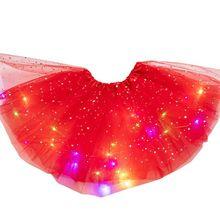 Детский светодиодный светильник для девочек, блестящая юбка-пачка из тюля с блестками и звездами для балета, От 3 до 12 лет