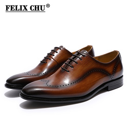 FELIX CHU Men's Brogues Oxford Wingtip Genuine Leather Dress Shoes for Business Lace-up Brown Black Mens Office Wedding Shoes