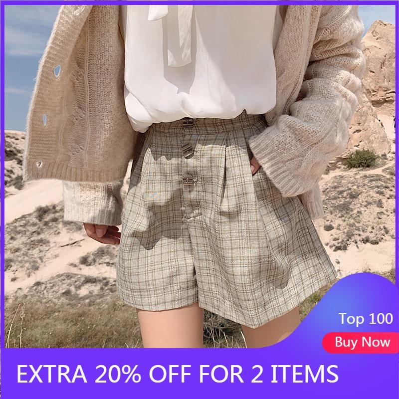 MISHOW 2019 New British Vintage Style High Waist Straight Women Streetwear Fashion Plaid Shorts MX19C2481