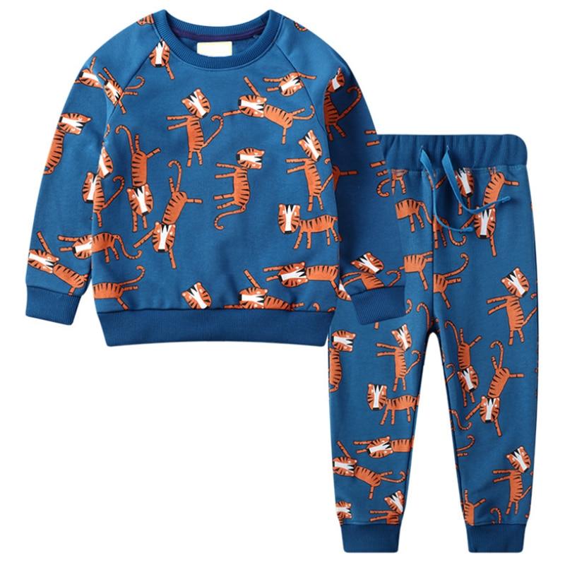 Little maven children's sets new spring Cotton brand long sleeve animal print shirt + animal print pants 1