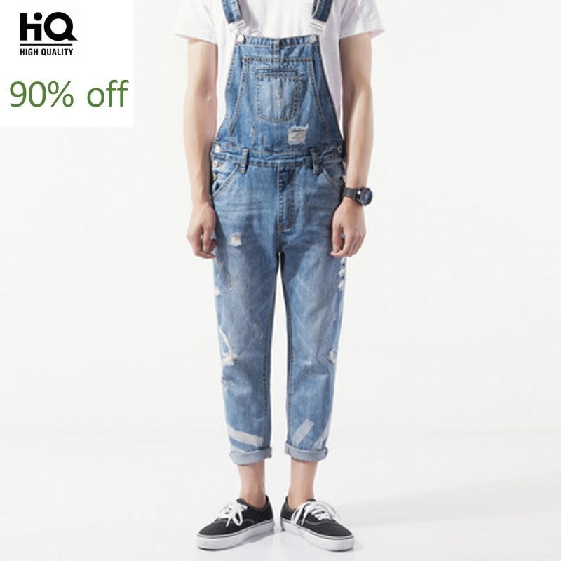 Summer Casual Overalls Men 2020 Korean Fashion Straight Regular Full Length Denim Jumpsuits Hole Ripped Streetwear Suspender Man