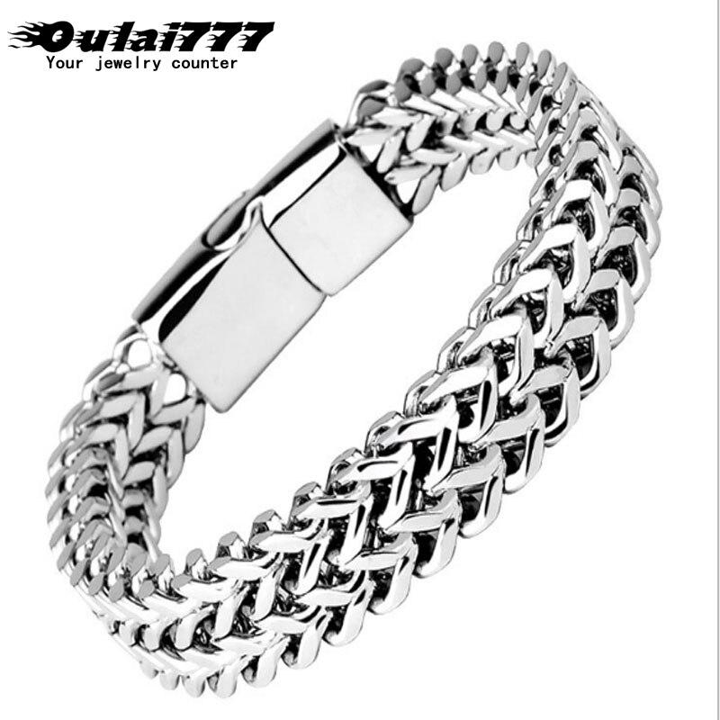 oulai777 men bracelet 2019 stainless steel link chain on hand mens accessories charm male bracelets bangles men's rock style