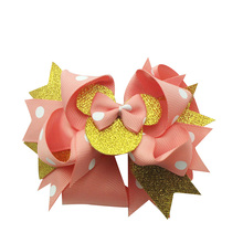 Adogirl Glitter Bowknot Layered Mouse Hair Bows For Girls Handmade Feather Red Shoes Hairpin Boutique Accessories