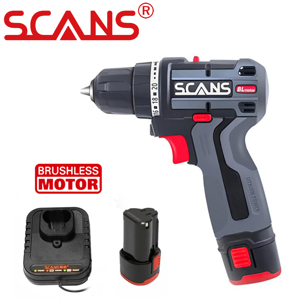 SCANS Brushless Screwdrive 12V Cordless Drill Driver 36Nm Lithium Battery Rechargeable Power Tools with Tool bag and Drill bits