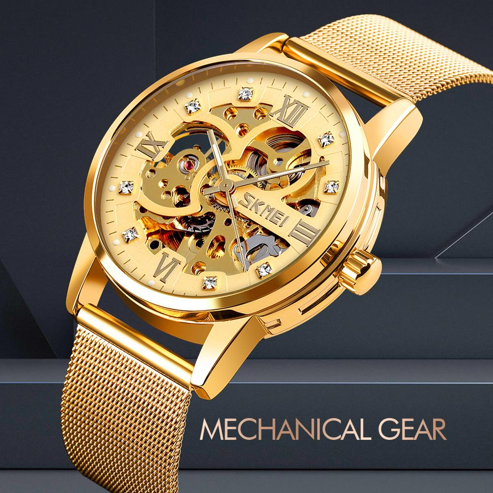 Mechanical Watch Skeleton Waterproof Automatic Watch Men Stainless Steel Men's Watches Montre Homme Fashion Business Bracelet