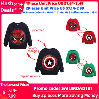 SAILEROAD Spiderman Face-changing Captain America Boys Sweatshirts for Kids Long Sleeve Hoodies Shirt 2020 Children's Sweatshirt 1