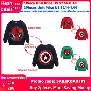 SAILEROAD Spiderman Face-changing Captain America Boys Sweatshirts for Kids Long Sleeve Hoodies Shirt 2020 Children's Sweatshirt 1