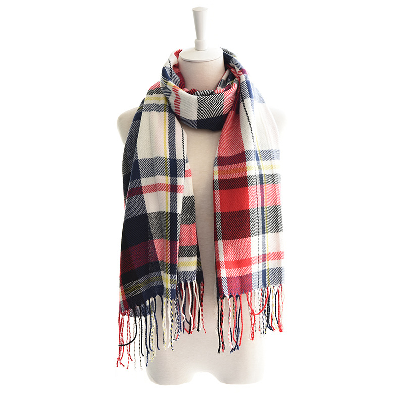 Europe And America Autumn And Winter New Style Women's Fashion Thermal Blanket-Shaped Tassels Plaid Scarf Colorful Shawl