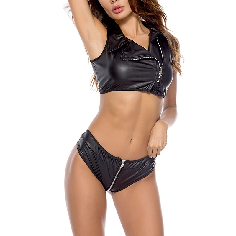 2020 Hot Sexy Striptease Patent Leather Clothing Patent Leather Two-Piece Motorcycle Suit Sexy Lingerie