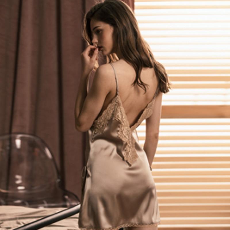 Mulberry  Silk Nightgown Sexy Women lace deep V   Real Silk   Nightdress Nighty Sling Silk Sleepwear Ladies Backless